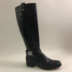 Michael Kors Sz 6.5 Tall Blk Leather Riding Boots